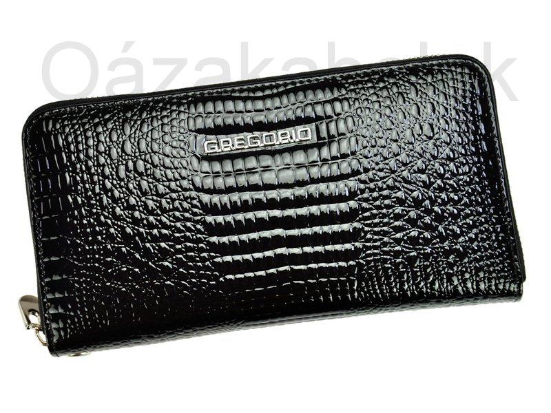 Lesklá celozipová kožená černá peněženka Gregorio GF119