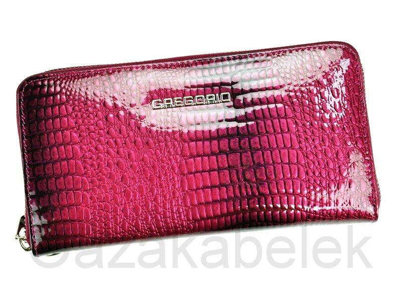 Lesklá celozipová kožená fialová peněženka Gregorio GF119