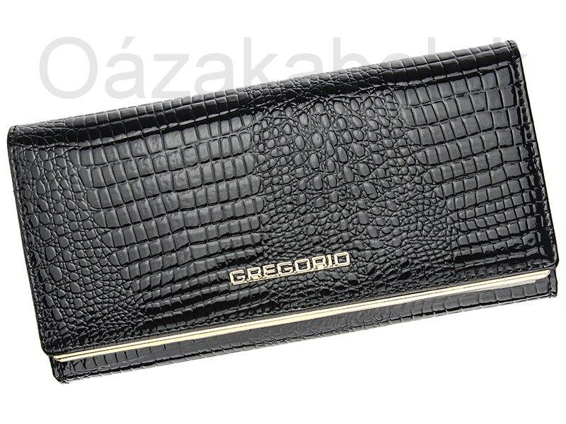 Lesklá černá kožená peněženka Gregorio SLL106