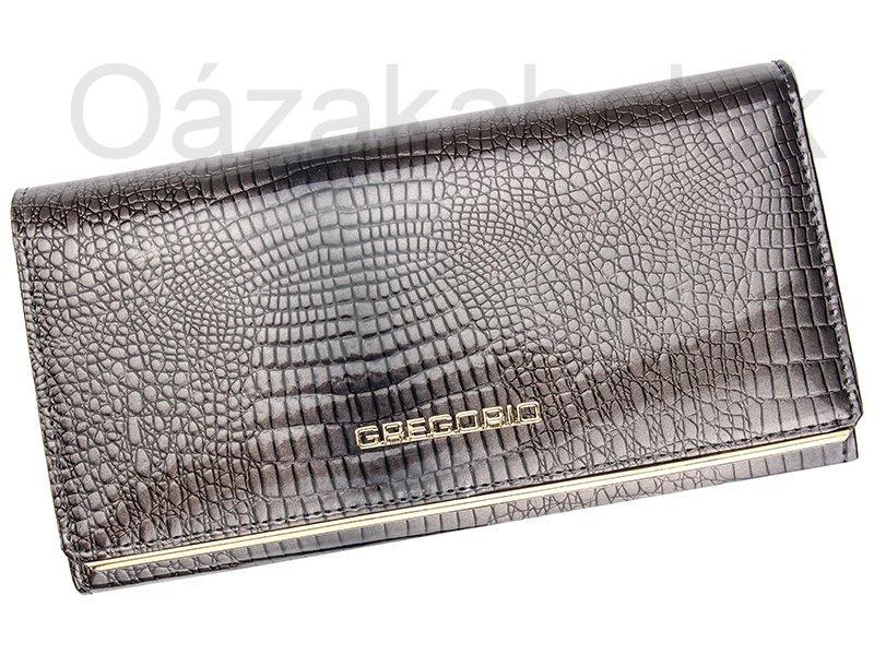 Lesklá šedá kožená peněženka Gregorio SLL106