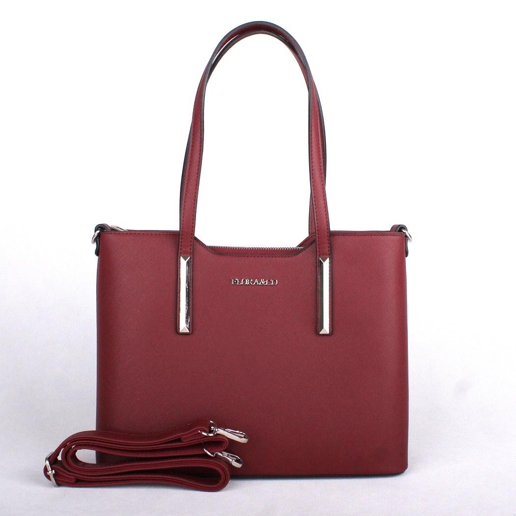 Červená (bordó) elegantní pevná kabelka do ruky i na rameno FLORA&CO F5983