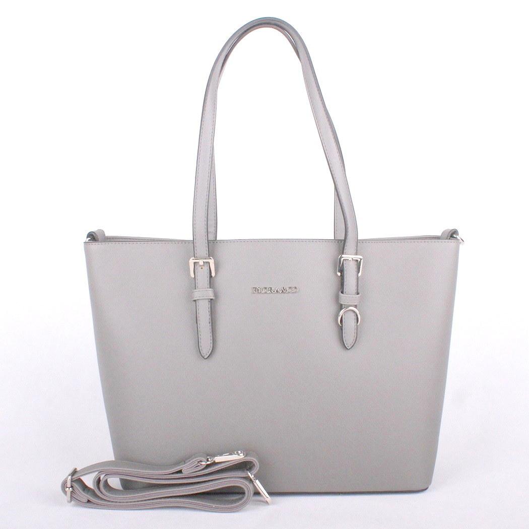 Světlešedá velká elegantní pevná kabelka na rameno FLORA&CO F9126