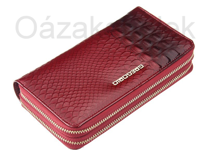 Dvoupatrová červená lesklá celozipová kožená peněženka Gregorio BCC118
