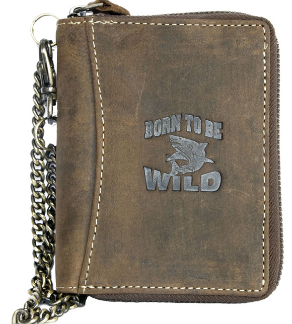 Hnědá kožená pánská peněženka Born to be Wild se žralokem na výšku