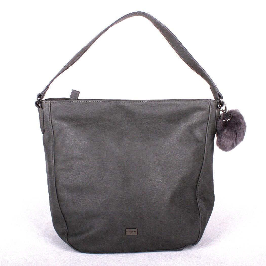 Tmavěšedá kabelka na rameno David Jones 5258-1 s bambulí
