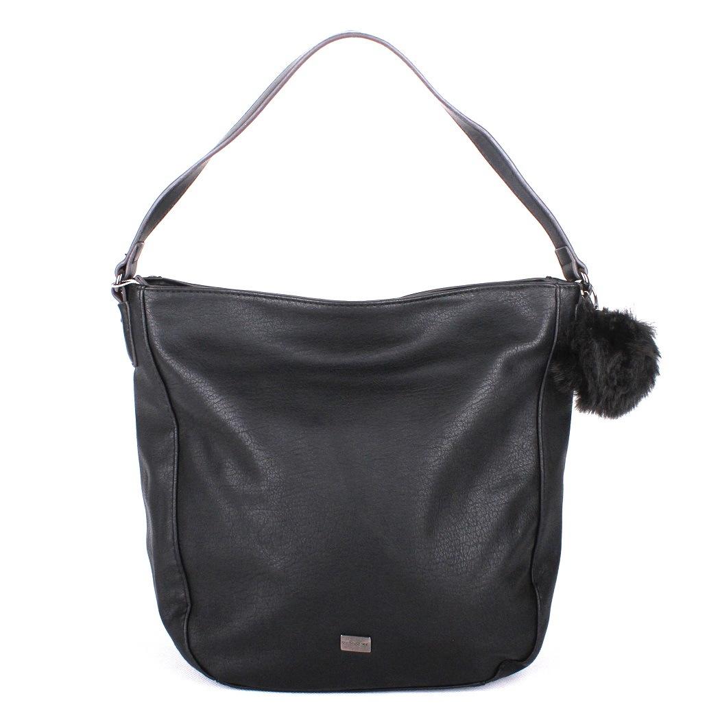 Černá kabelka na rameno David Jones 5258-1 s bambulí