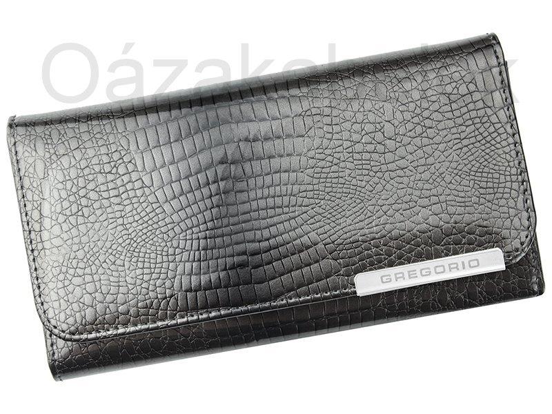 Lesklá šedá kožená peněženka Gregorio GF110