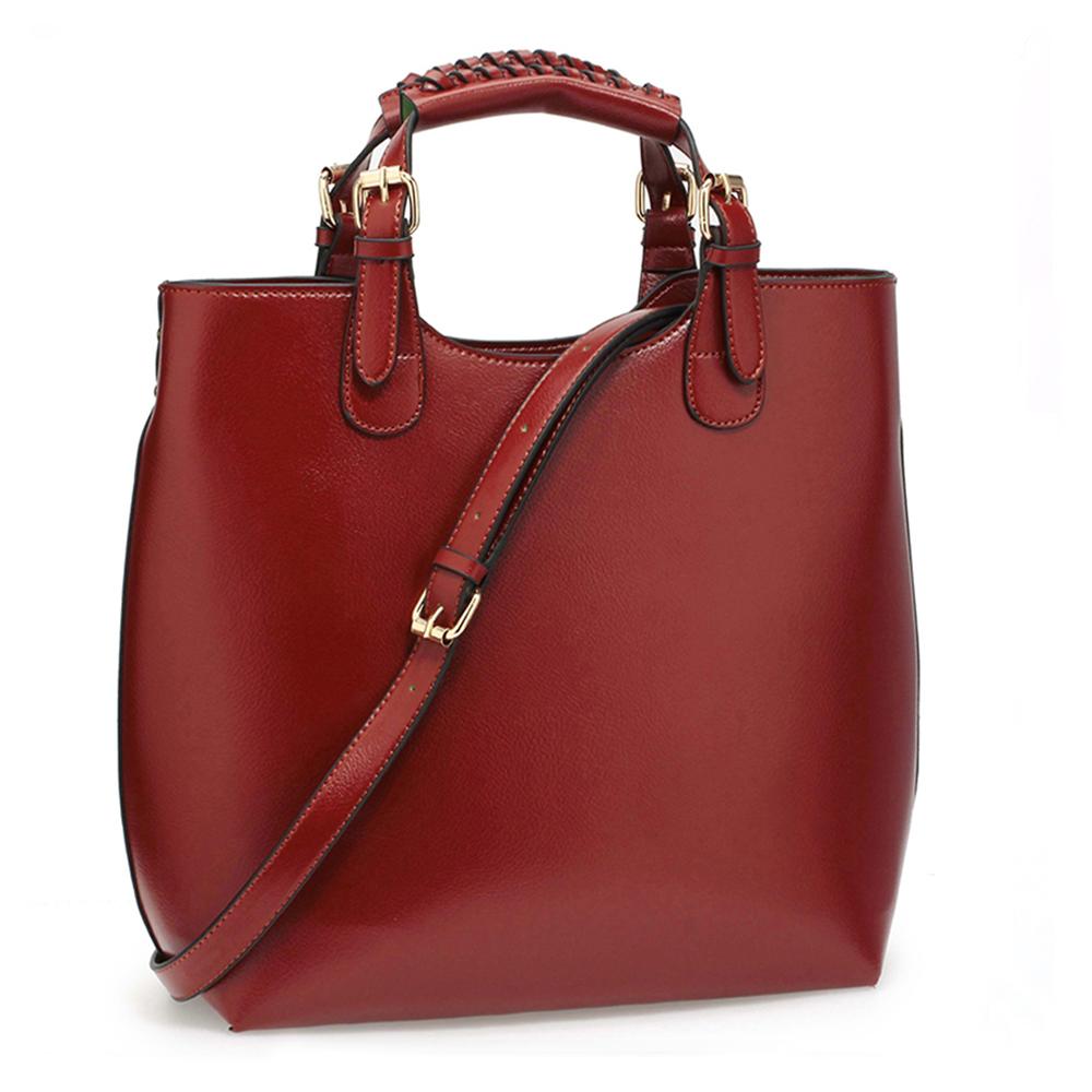 Tmavěčervená (vínová) velká kabelka shopperbag LS00267