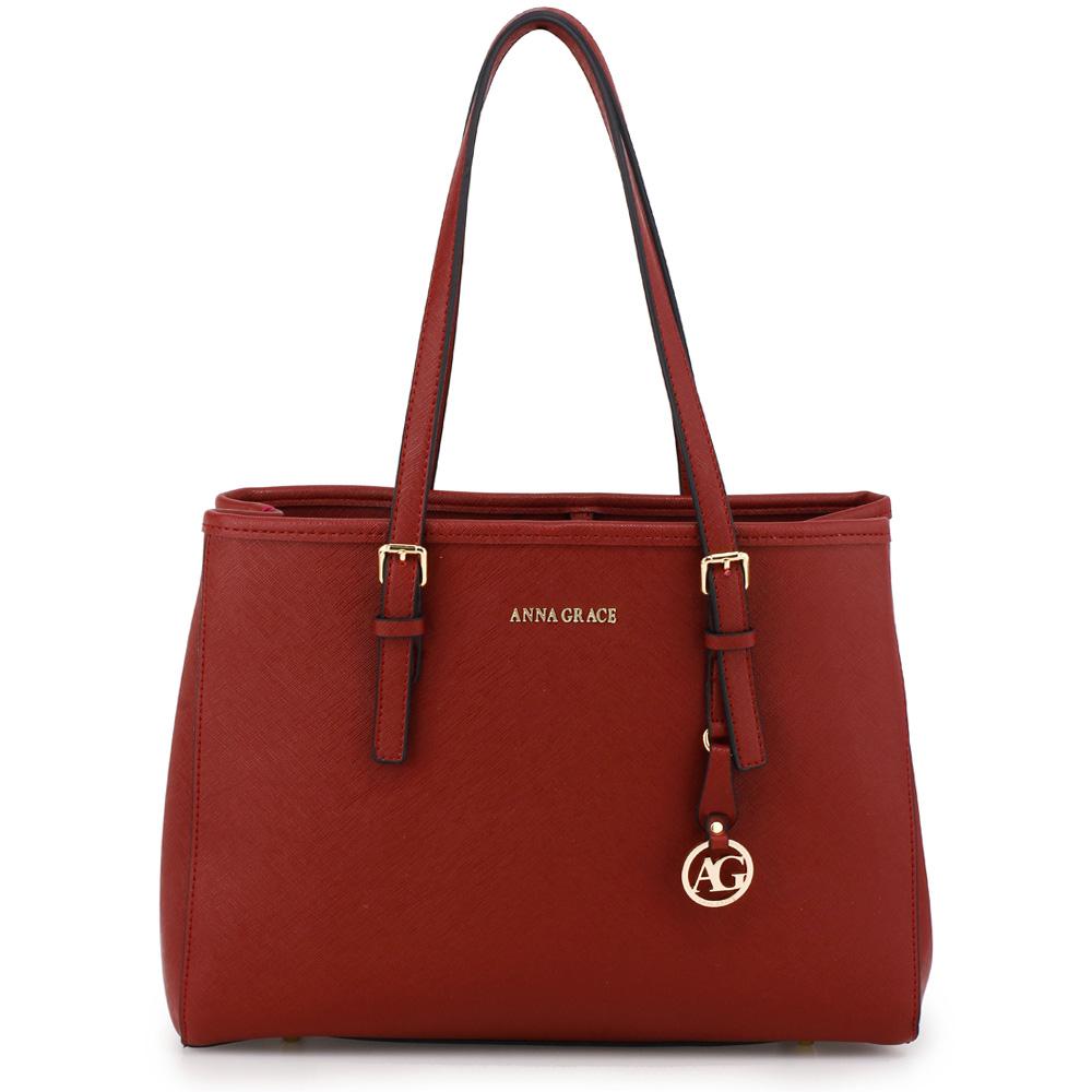 Červená (burgundy) středně velká kabelka na rameno AG00571