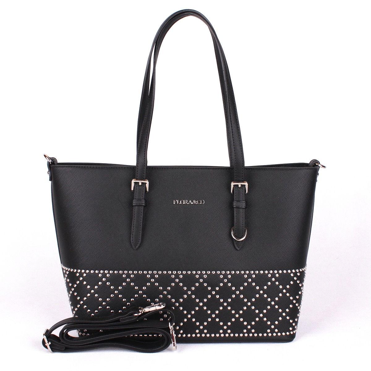 Černá velká elegantní pevná kabelka na rameno FLORA&CO F6375