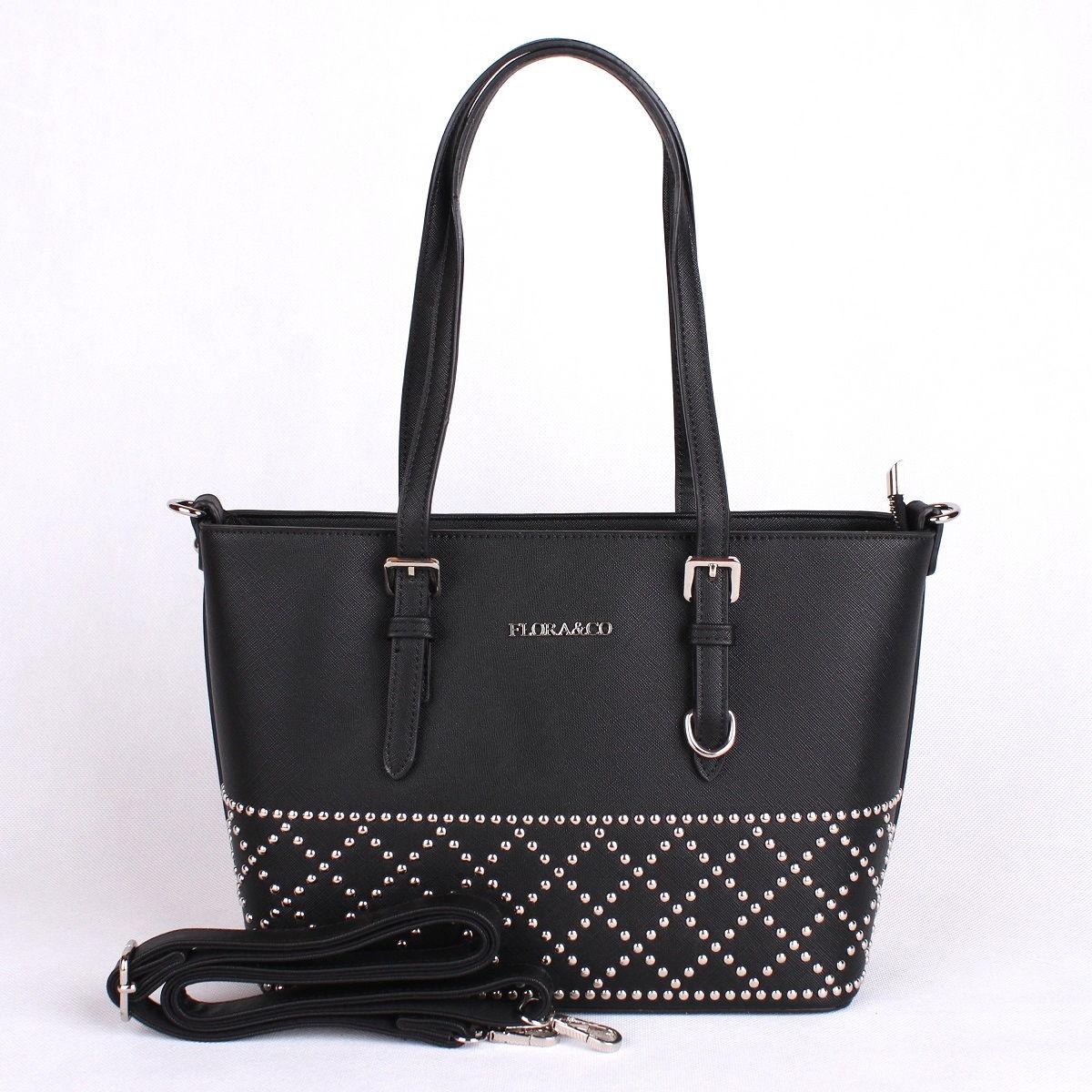 Černá elegantní pevná kabelka do ruky i na rameno FLORA&CO F6376
