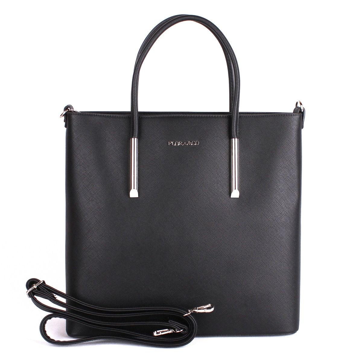 Černá velká elegantní pevná kabelka do ruky FLORA&CO F5645
