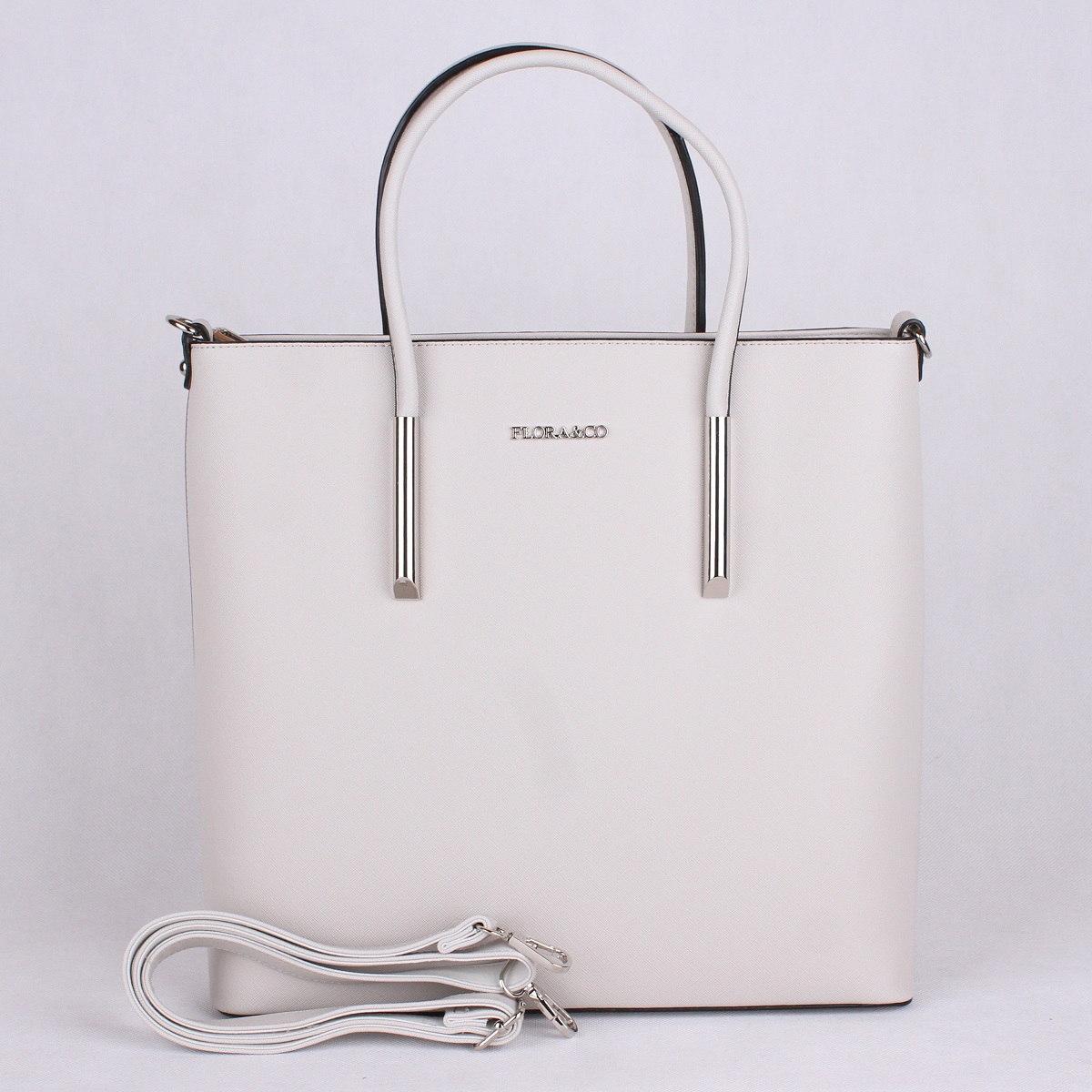 Krémově šedá velká elegantní pevná kabelka do ruky FLORA&CO F5645
