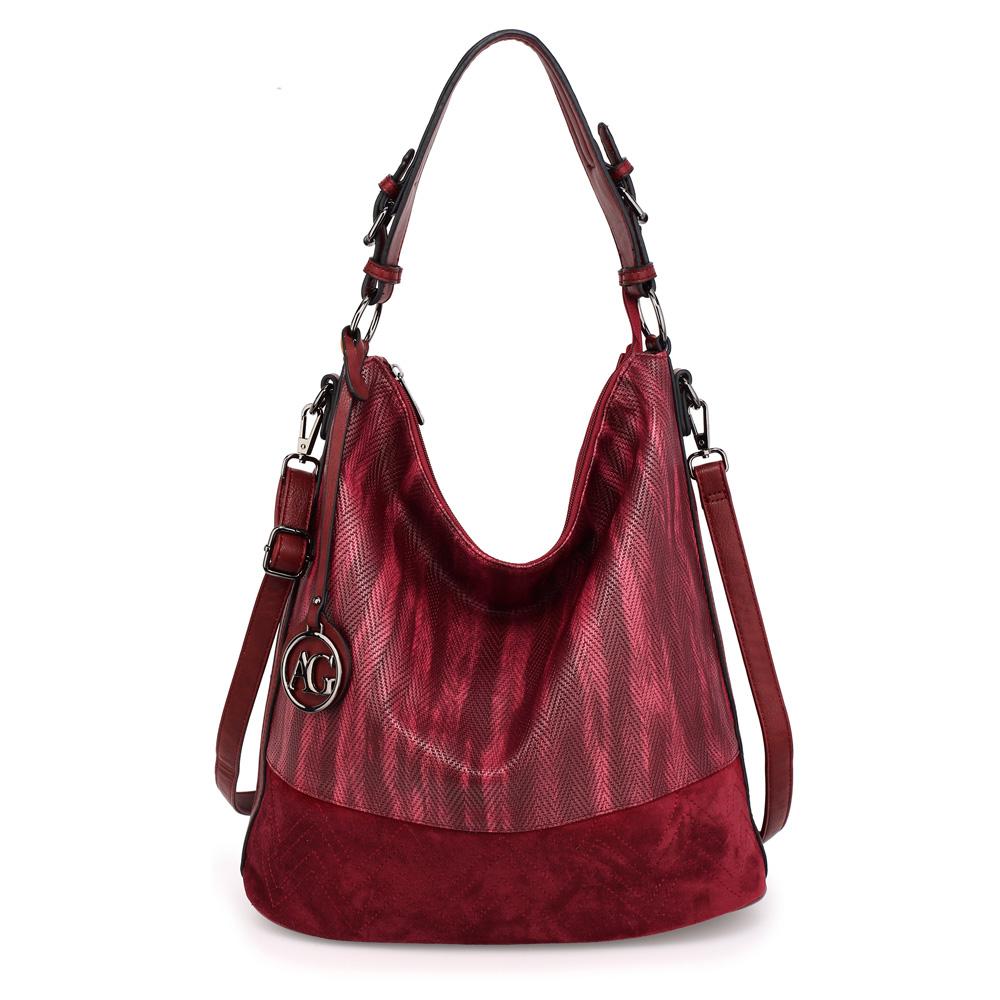 Velká tmavěčervená kabelka na rameno/do ruky AG00557