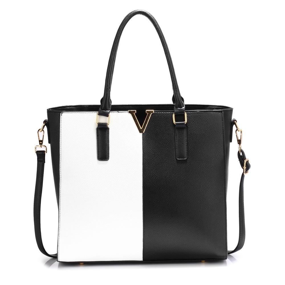 Velká černo-bílá kabelka do ruky i na rameno AG00420
