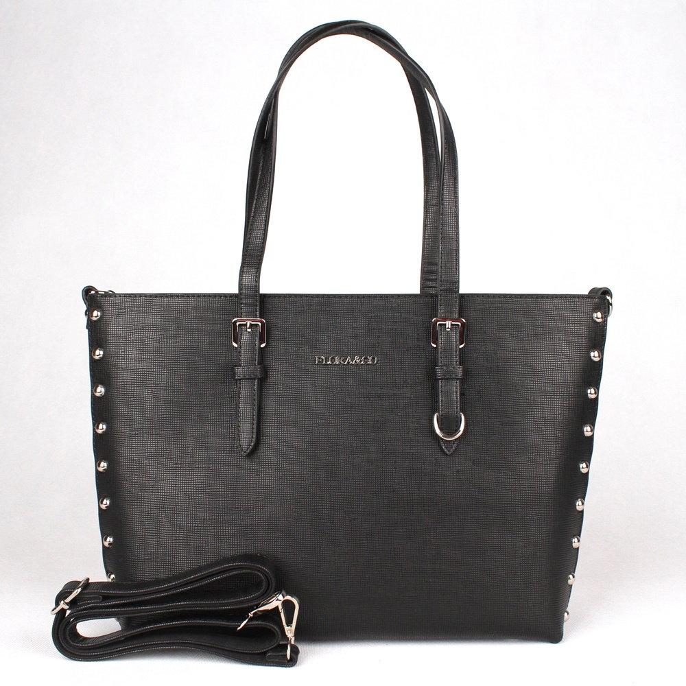 Černá velká elegantní pevná kabelka na rameno FLORA&CO F6389
