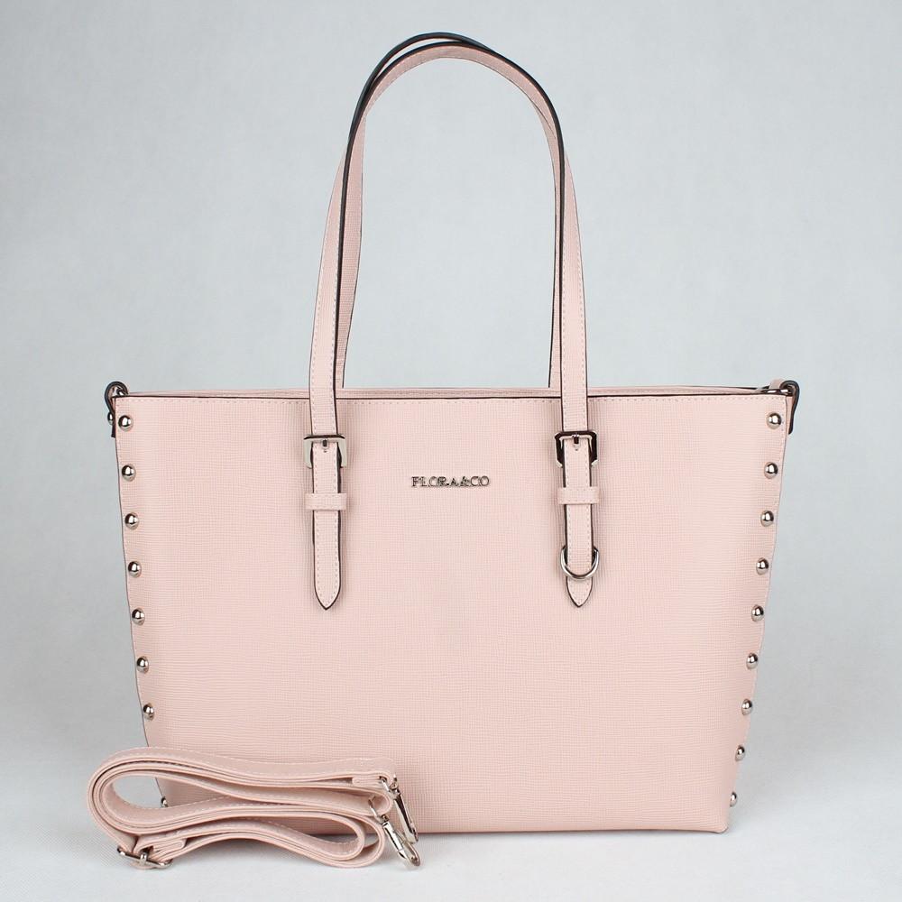 Růžová velká elegantní pevná kabelka na rameno FLORA&CO F6389