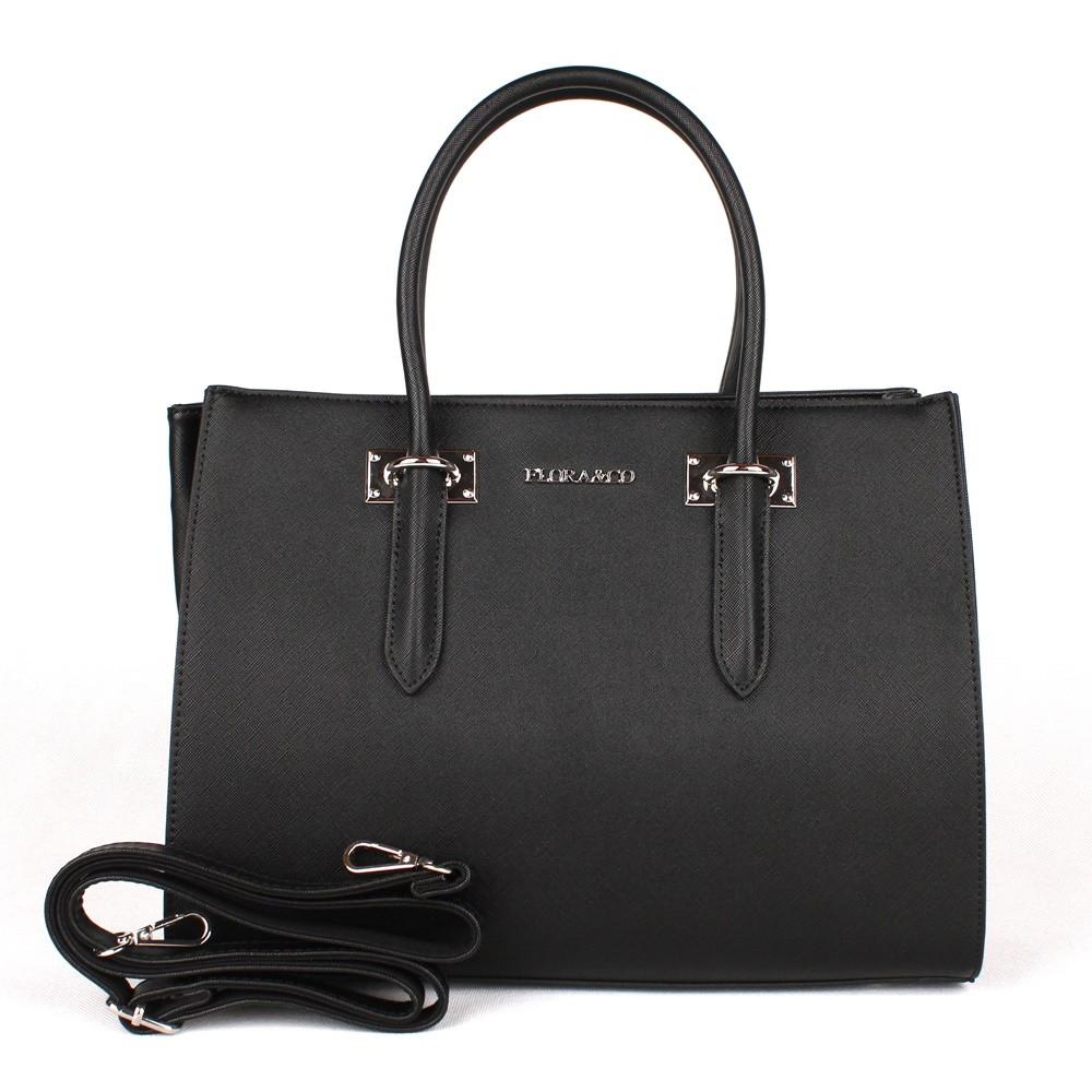 Černá středně velká elegantní kabelka do ruky FLORA&CO F6371