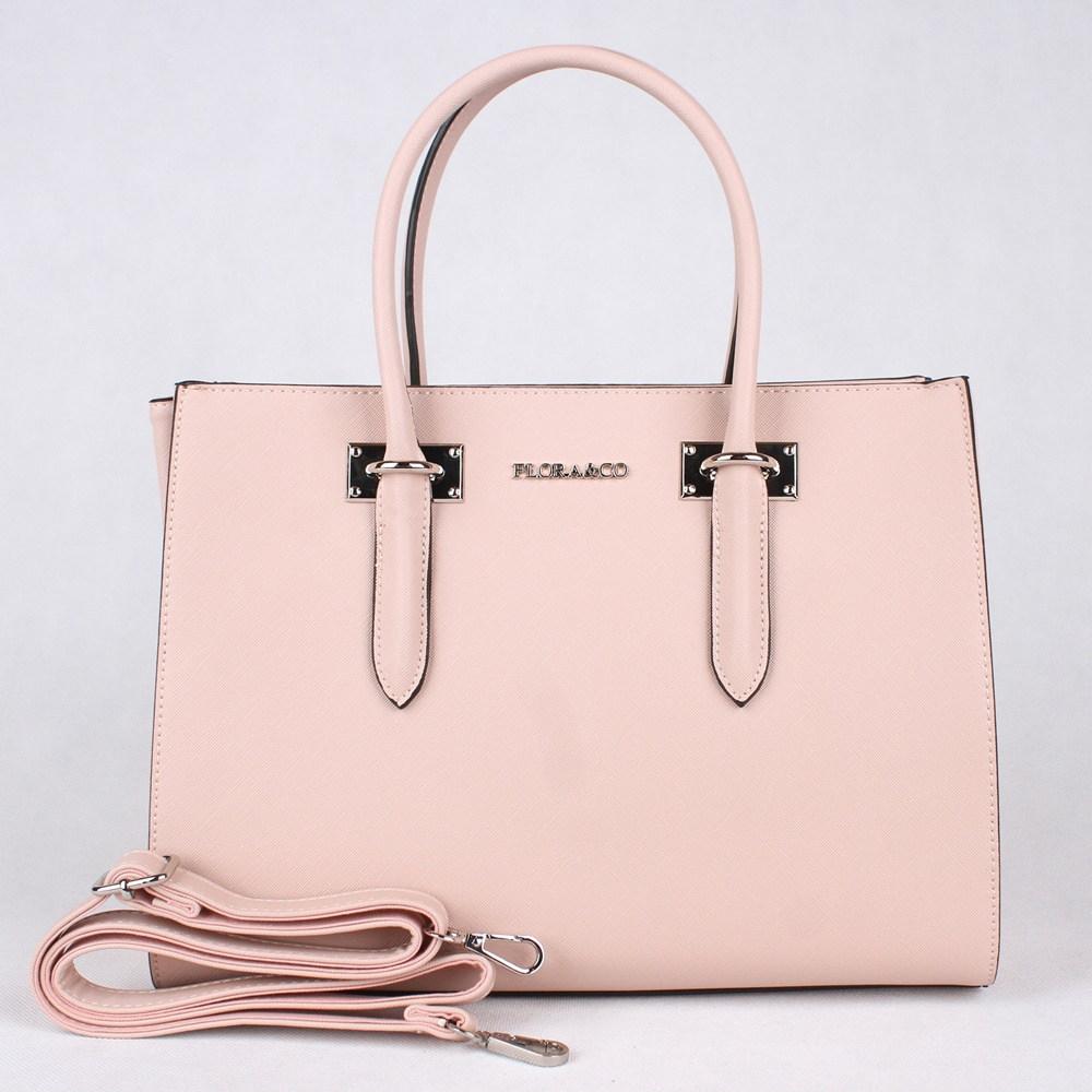 Růžová středně velká elegantní kabelka do ruky FLORA&CO F6371