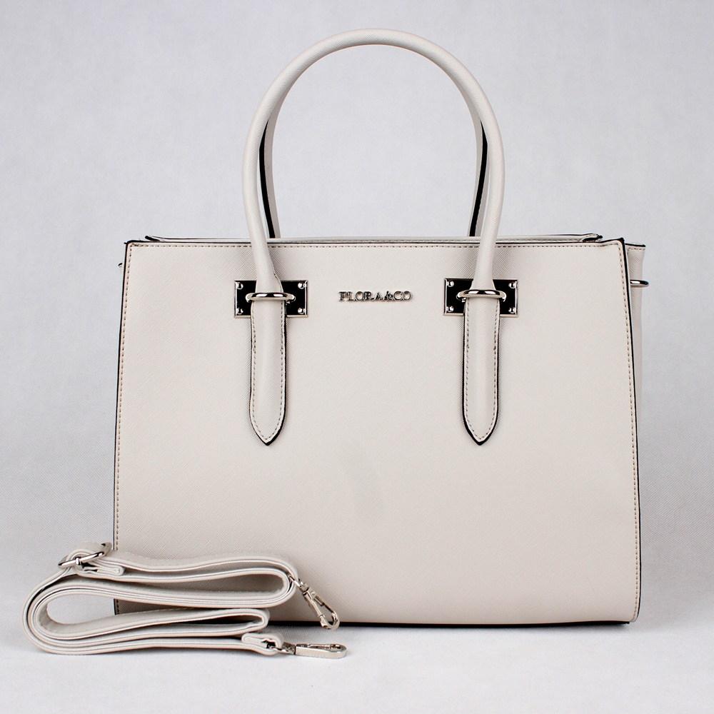Krémově šedá středně velká elegantní kabelka do ruky FLORA&CO F6371