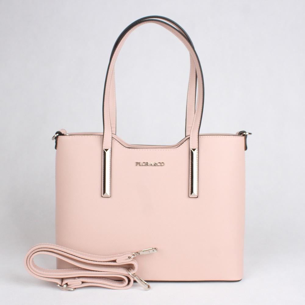 Světlerůžová elegantní pevná kabelka do ruky i na rameno FLORA&CO F5983