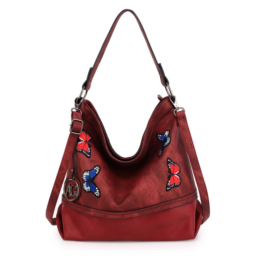 Velká tmavěčervená kabelka na rameno/do ruky AG00554 s motýly