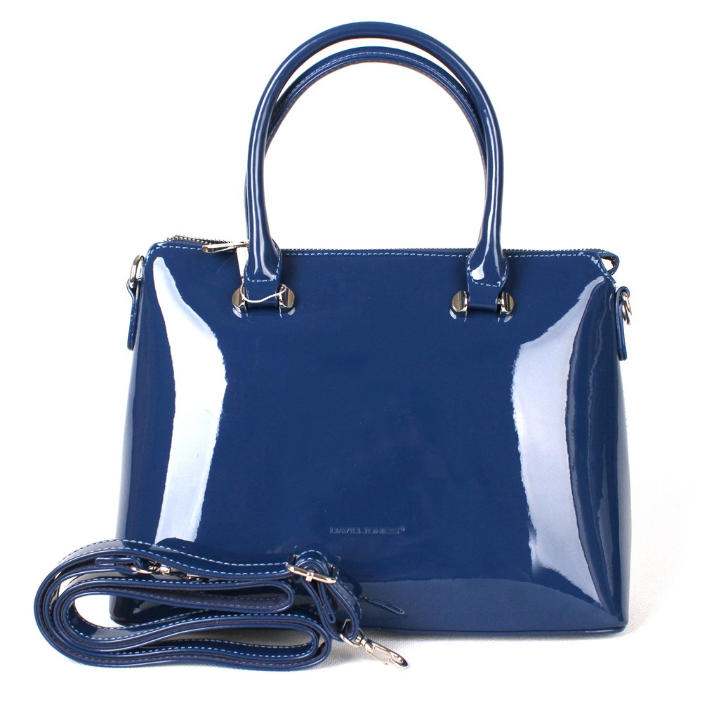 8d70351773 Lesklá modrá kabelka do ruky David Jones 5790-1