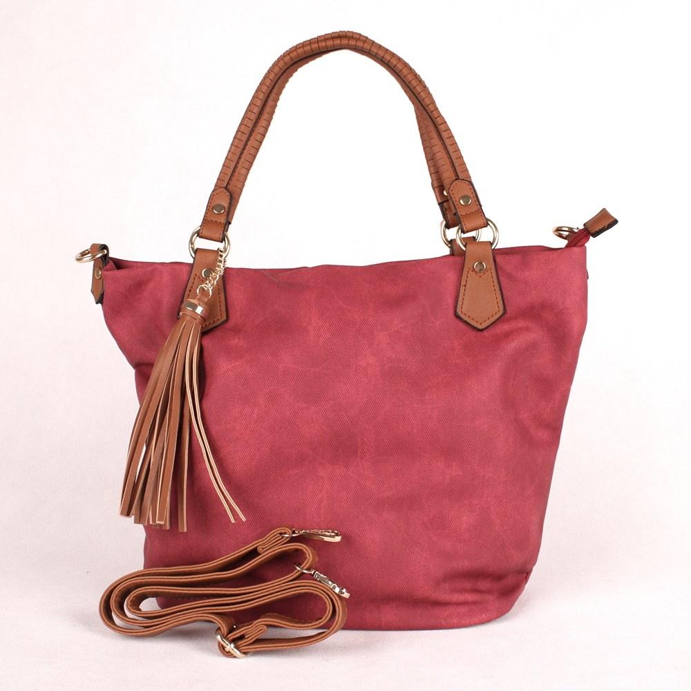 Vínová velká kabelka do ruky či na rameno ALPINI LC9909