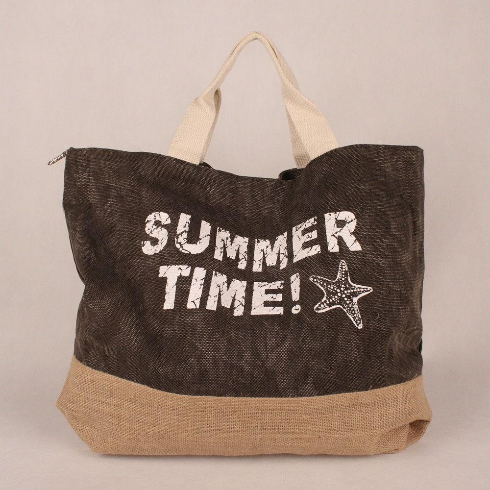 Velká šedo-béžová plážová taška SUMMER TIME!