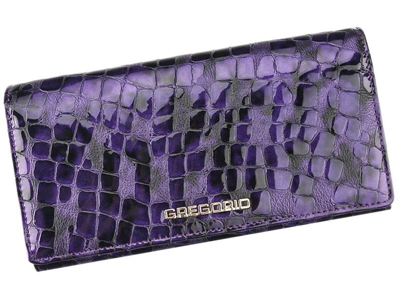 Fialová lesklá kožená peněženka Gregorio FS-106