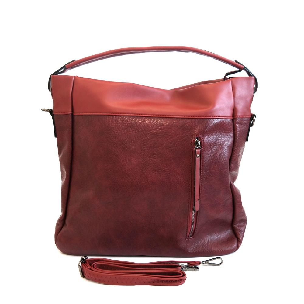 Velká červená (vínová) kabelka na rameno i crossbody art. 214