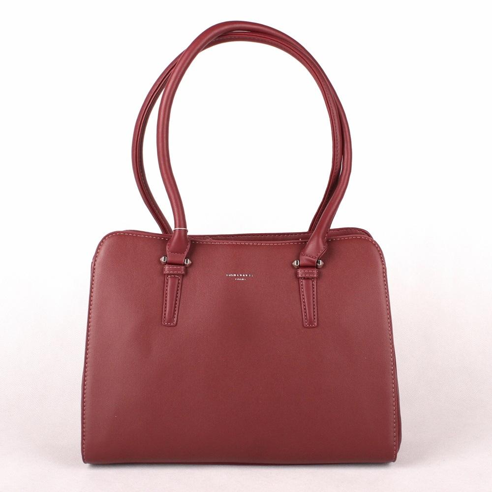 Dvouoddílová velká tmavěčervená kabelka na rameno David Jones 5812-2A