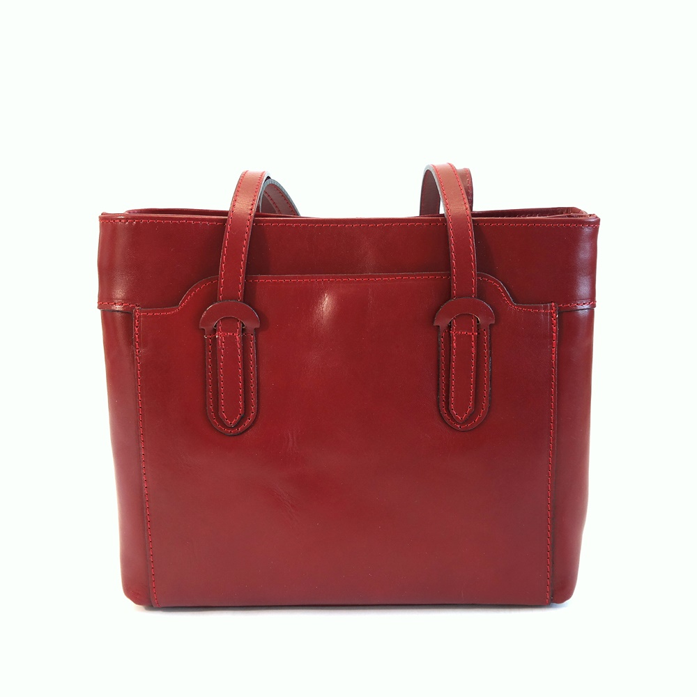 Tříoddílová tmavěčervená kožená kabelka na rameno no. 99