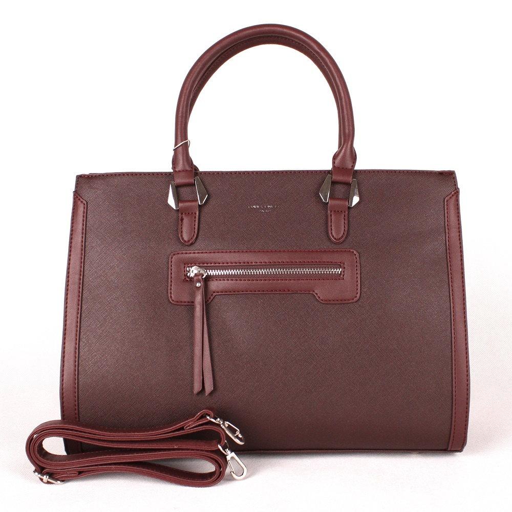 Tmavěčervená (vínová) velká elegantní kabelka do ruky David Jones CM3902