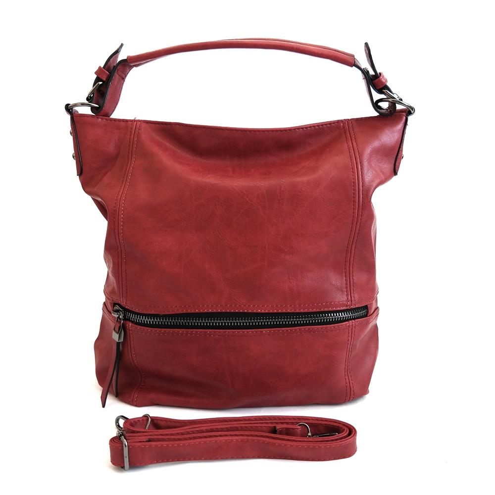 Velká červená kabelka do ruky, na rameno i crossbody ROMINA & CO D177