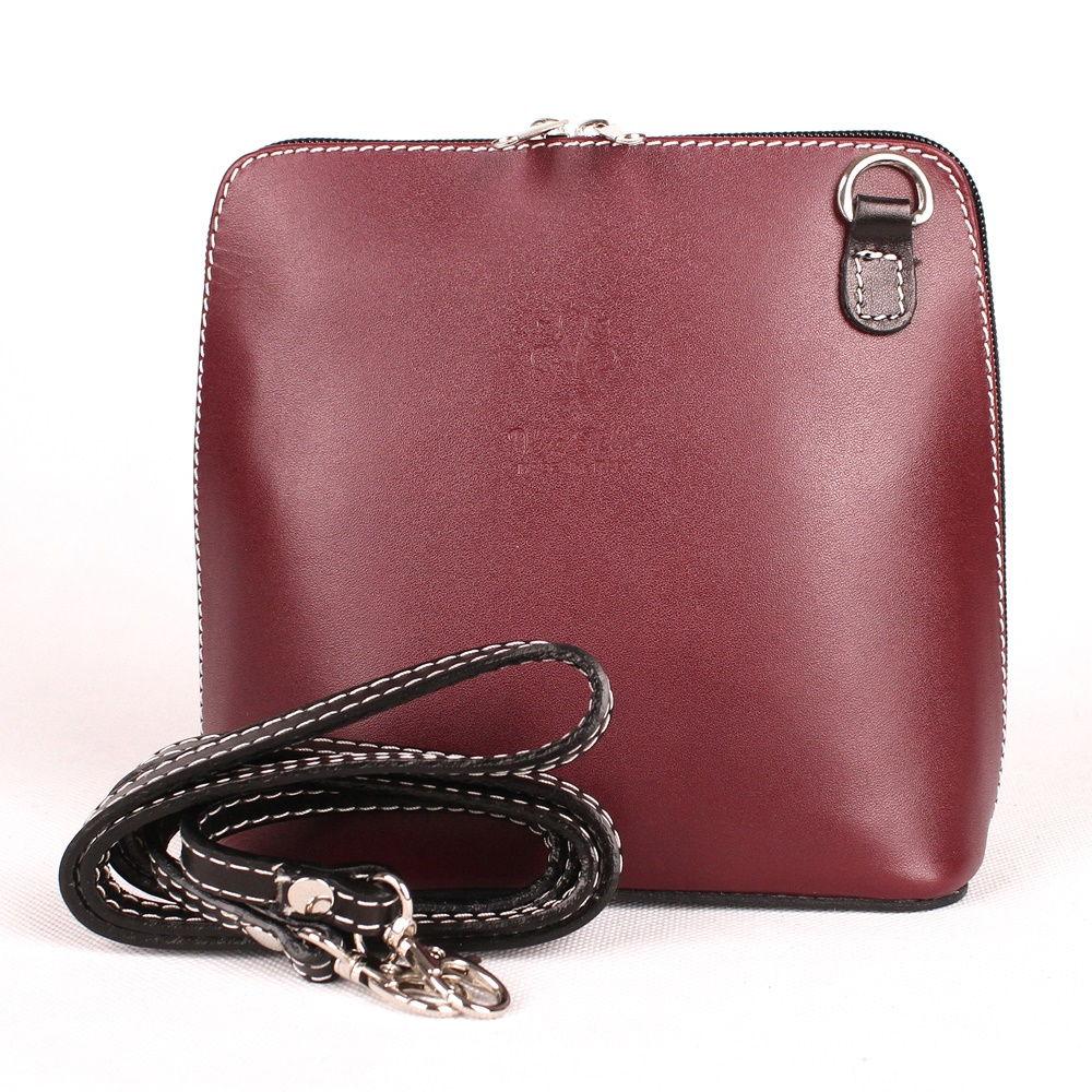 Vínová-černá malá kožená crossbody kabelka no. 55