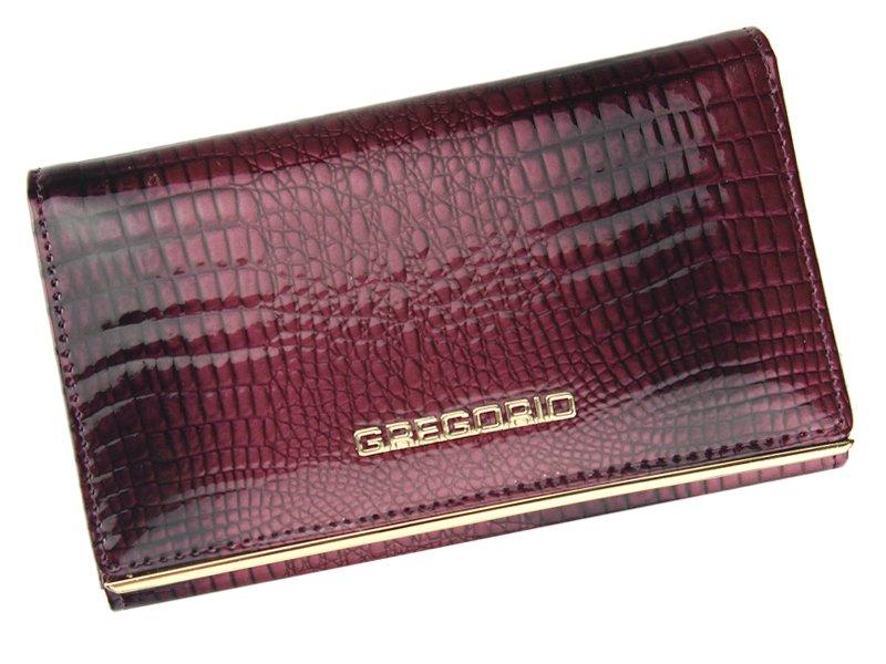 Malá fialová lesklá kožená peněženka Gregorio SLL-110