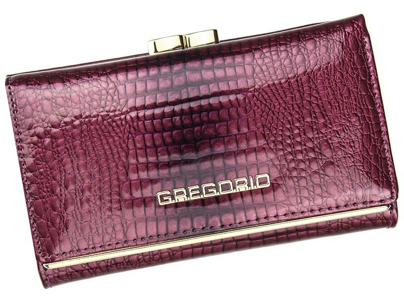 Fialová lesklá kožená peněženka Gregorio SLL108