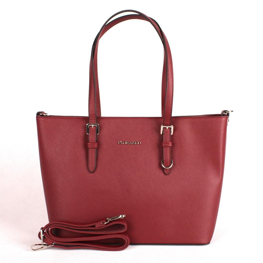 Tmavěčervená velká elegantní pevná kabelka na rameno FLORA&CO F9126