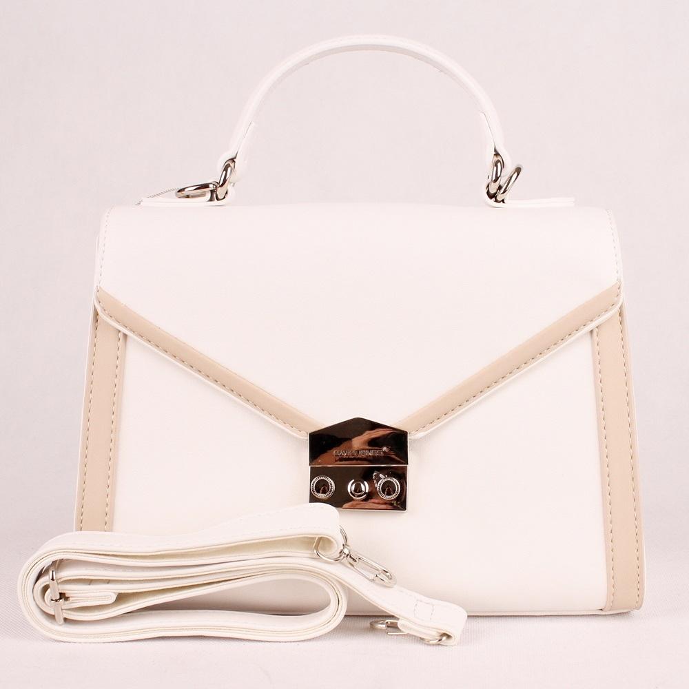 8bc98a53bd Bílá pevná kabelka (aktovka) do ruky či na rameno David Jones 5947-2