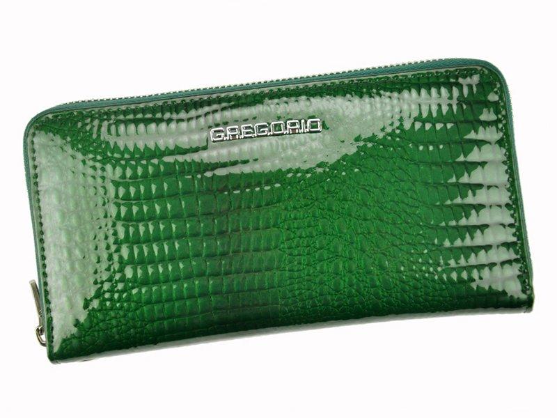 Lesklá celozipová kožená zelená peněženka Gregorio GF119