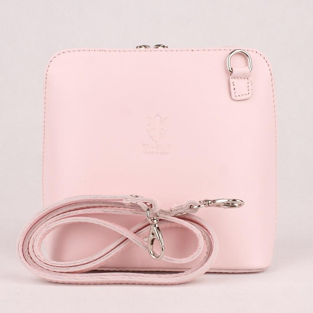 7b0436d66a Růžová malá kožená crossbody kabelka no. 55