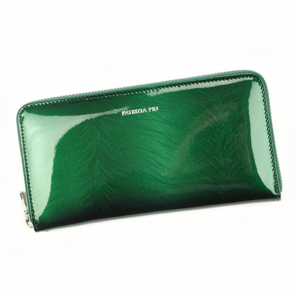 Lesklá celozipová kožená zelená peněženka Patrizia Piu FF-119