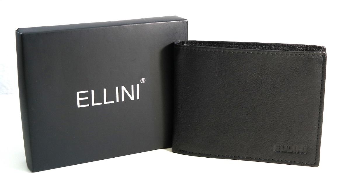 Černá pánská kožená peněženka Ellini podélná