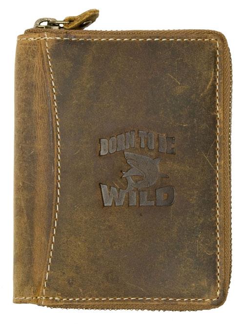 Hnědá pánská kožená peněženka Born to be Wild na výšku se žralokem