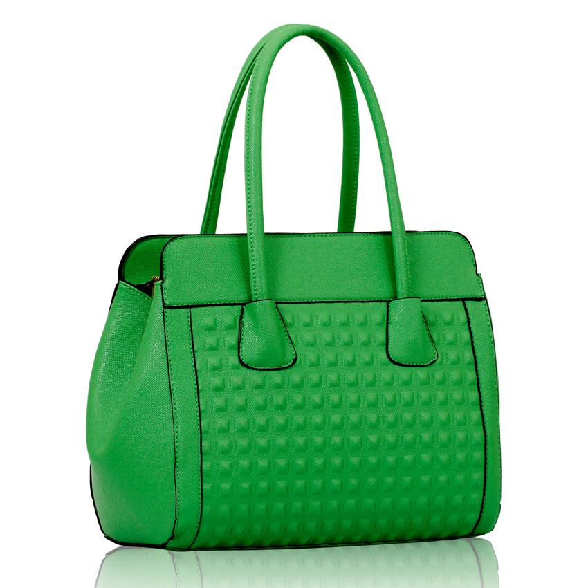 Levná zelená kabelka do ruky i na rameno LS00141