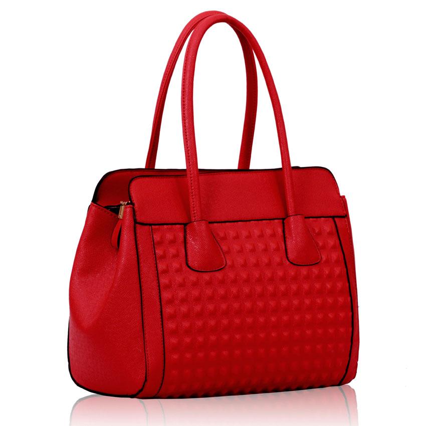 Levná červená kabelka do ruky i na rameno LS00141
