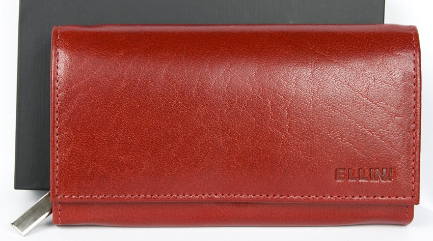 Červená dámská kožená peněženka Ellini