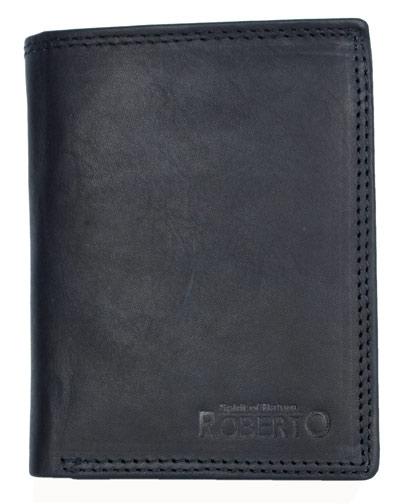 Černá pánská kožená peněženka ROBERTO na výšku