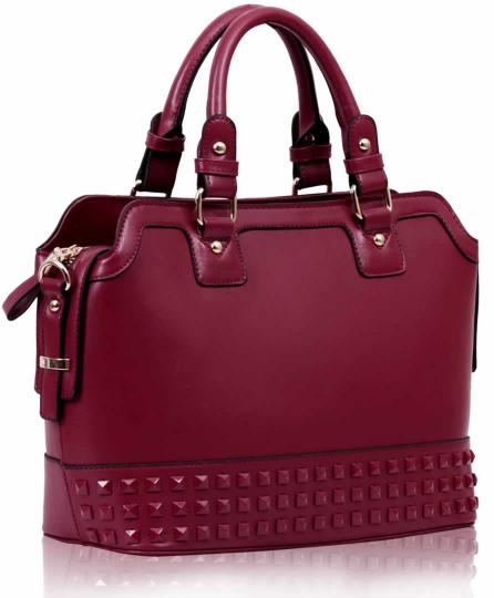 Tmavěčervená středně velká kabelka do ruky LS00157A